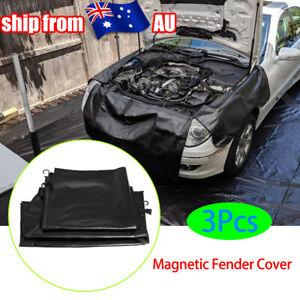 3Pc L+R+F Magnetic Fender Cover Mechanics Work Mat Protector Leather W/ Hooks