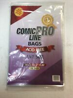 "100 Comic Book Bags Life Size 11 1/8"" X 15"" - 2"" Flap Acid Free 2 Mil"