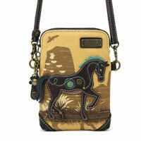 NEW CHALA SAFARI HORSE TAN BROWN YELLOW CANVAS CELL PHONE CROSSBODY PURSE