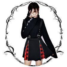 Women Gothic Punk Red Black Plaid Suspender Skirt Harajuku Girl Zip Skirt