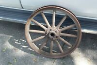 """Antique Primitive Wagon Buggy Car Wheel 12 Wood Spokes 25"""" Tall Country Decor"""