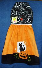 *NEW* Handmade Halloween Pumpkins & Cats Hanging Kitchen Hand Towel #1778