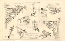 1883 ANTIQUE ARCHITECTURE, DESIGN PRINT- WROUGHT IRON WATER SPOUTS