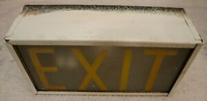 Vintage Exit Sign Metal And Glass