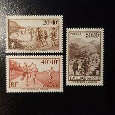 ŒUVRES DES PTT PLAGE / SPORT / LOISIR N°345/347 NEUF ** LUXE GOMME D'ORIGINE MNH