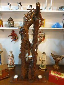 Unique Handmade Rustic trunk Candelabra Decorated with Quartz Crystals