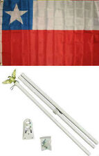 3x5 Chile Flag White Pole Kit Set 3'x5'