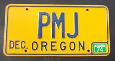 "OREGON VANITY LICENSE PLATE "" P M J "" PETE PAULA PAUL  PAT JONES JACOBS JENSEN"