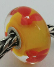 Authentic Trollbeads Murano Glass Retired Red Flower Bead Charm 61308, New (#1)
