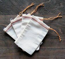 100 (3x5) Red Hem and Orange Drawstring Muslin Bag