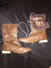 GIRLS BROWN FAUX LEATHER LACE UP ZIPPER COMBAT BOOTS PLAID LINING SIZE 7
