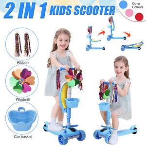 Kinder Roller Scooter mit LED Räder Abnehmbarem Sitz 3 Rad Höheverstellbare DE