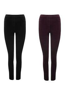 Womens Cord Leggings Jeggings Velvet Ex M&Co Black Mulberry Size 8-18 RRP £21