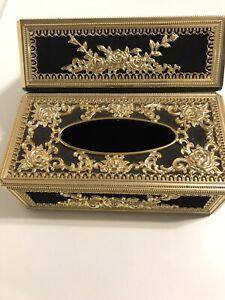 2 Vintage Hollywood Regency Ornate Gold Black Velvet Rose Tissue Box  Holder