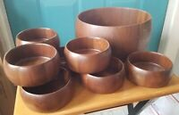 8 Vintage Wooden Didware Heirloom Walnut Small Bowls and Large Matching Bowl