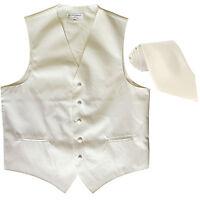 New Men's Formal Tuxedo Vest Waistcoat_Necktie solid cream wedding prom