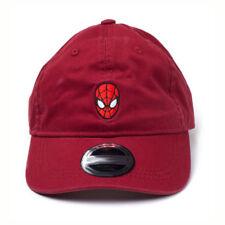 MARVEL COMICS Spider-man Embroidered Mask Stone Washed Denim Dad Cap Red