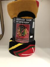 "New Chicago Blackhawks Super Plush Throw 46"" X 60"" 100% Polyester"