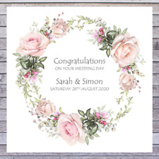 WEDDING DAY CARDS personalised with names date and romantic RUSTIC PINK ROSE