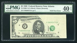 $5 1969 Federal Reserve Note Fr.1969F - Pre Face Print Fold Over