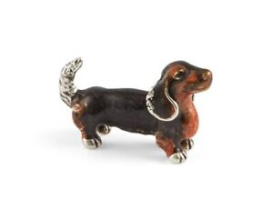 Saturno Sterling Silver and Enamel Dachshund