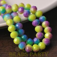 15pcs 10mm Glass With Color Coated Rondelle Loose Beads Yellow&Blue&Purple