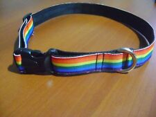 "PRIDE DOG COLLAR RAINBOW DOG NECKLACE GAY DOG COLOR STRIPED BRAND NEW 12"" TO 24"""