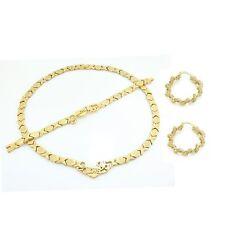 Womens Gold I Love You Hugs & Kisses Necklace,Bracelet & Shiny Hoop Earring Set