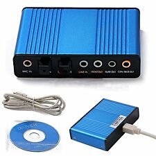 USB 6 Channel 5.1 Audio External Optical Sound Card Adapter For Laptop Skype Pro