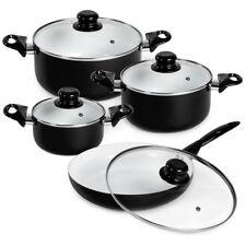 Set di pentole da 8 pezzi batteria padelle in ceramica cucina nero nuovo