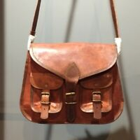 Purse adult Women Vintage Brown Leather Messenger Cross Body Bag Handmade