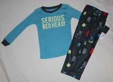 NEW~CARTERS TODDLER BOY 2 PIECE BLUE/GRAY MONSTER WINTER PAJAMAS SIZE 4T