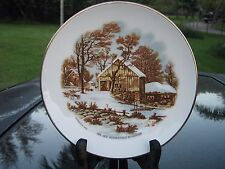 FULLER BRUSH COMPANY THE OLD HOMESTEAD IN WINTER PLATE VINTAGE GOLD TRIM 1978
