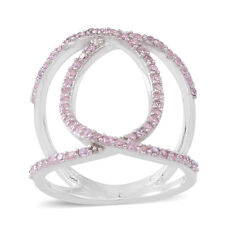 PINK POSH FANCY SIMULATED DIAMOND OPEN 0 DOUBLE BANDED STERLING PAVE RING 9