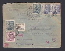 SPAIN 1941 WWII SEVILLA CENSORED AIR MAIL COVER MALAGA TO STUTTGART GERMANY