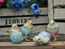 Set of 4 Easter Egg Chick Sculpture Destressed Resin Chicken Ornament Home Decor