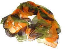 "Women's 100% Chiffon Silk Scarf / Multi-colored / Abstract / 68"" X 42"""