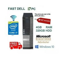 ULTRA FAST 3.1GHz Dell Quad Core i7 Desktop Computer PC Windows 10 4GB RAM 320GB