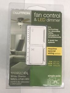 Lutron Maestro Fan Control & LED Dimmer White MACL-LFQH-WH