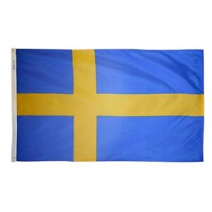Sweden Indoor Outdoor Parade Color Guard Dyed Nylon Flag All Larger Sizes