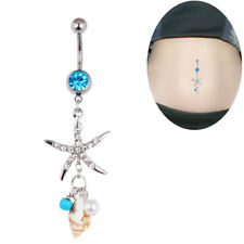 Surgical Steel Crystal Starfish Conch BodyNavel Belly Ring Button Piercing Bar2P