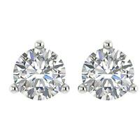 Real Diamond SI1 G 0.55 Ct Martini Set Solitaire Studs Earrings 14K White Gold