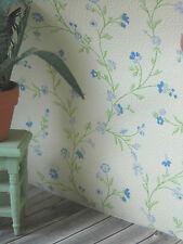 Blumenranken-TAPETE 53 x30 cm,blau grün Ranken auf hellcreme,Puppenstube