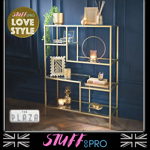 Gold Glass Shelving Unit Art Deco Style Storage Furniture Freestanding Console