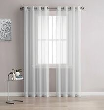 NEW Linen Zone 2-Piece 54-Inch-by-95-Inch Grommet Sheer Panel Curtains, Silver