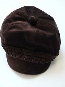 JANIE AND JACK Chocolate Brown Cotton Velour Visor Hat 6-12mo
