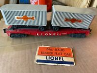 Lionel 6430 Flatcar With Two Cooper-Jarrett Trailers and Original Box