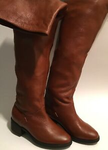 COLIN STUART Women's Size 5 Brown Leather Over The Knee Flat Boots