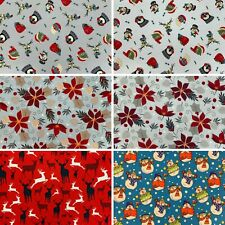 Rose & Hubble 100% Cotton Christmas Xmas Festive Fabric 54 inches Wide 8 Design