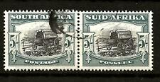 SOUTH AFRICA (791)1947-54 SG122 5/- BLUE & BLACK  PAIR OF 2 GOOD TO FINE USED